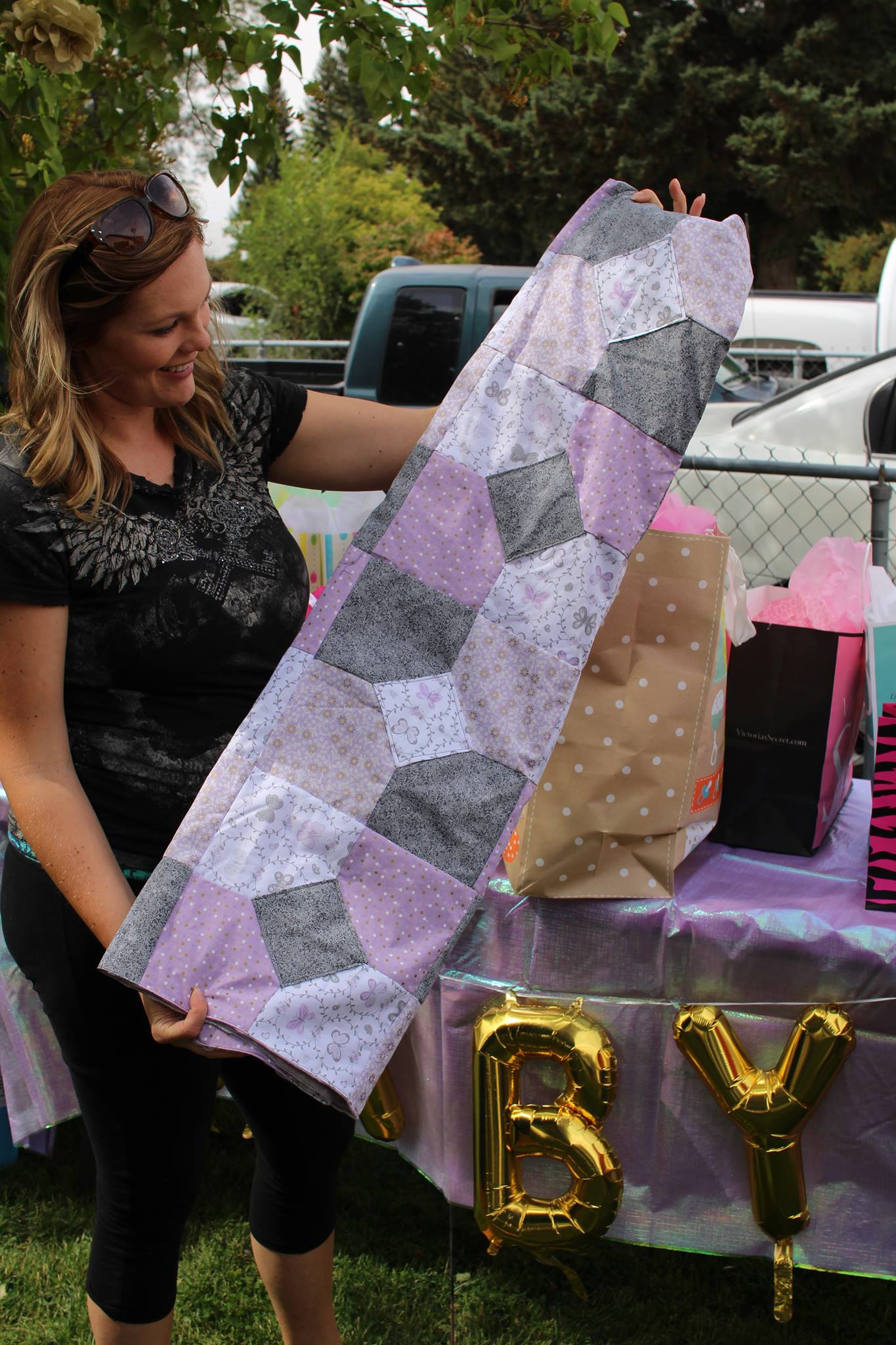 baby shower purple and gray baby girl quilt