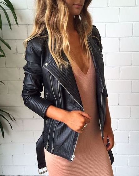 pink-dress-and-leather